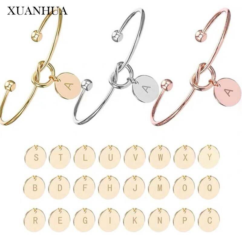 Xuanhua Lettera dei braccialetti del polsino dei braccialetti monili registrabili in oro rosa gioielli accessori in acciaio inossidabile donna fascino 2020