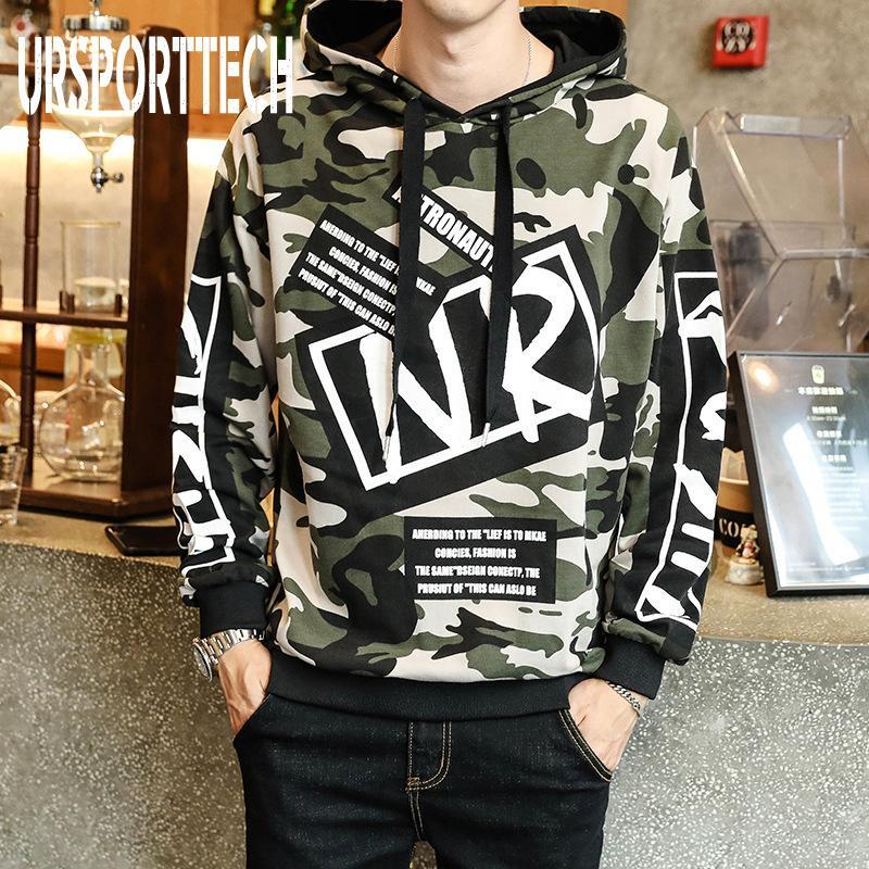 Autumn Men Camouflage Hoodies Long Sleeve Hooded Sweatshirt Male Hoodie Casual Hip Hop Streetwear Hoodie Homme Big Size M-4XL 201022