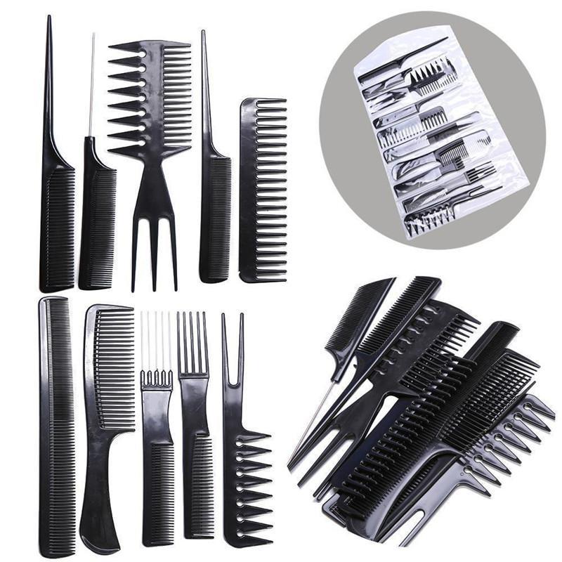 Dropship 10pcs salone professionale pettina i capelli Kit barbiere pettine di taglio di spazzole antistatica Spazzola Hair Care Styling Tool Set
