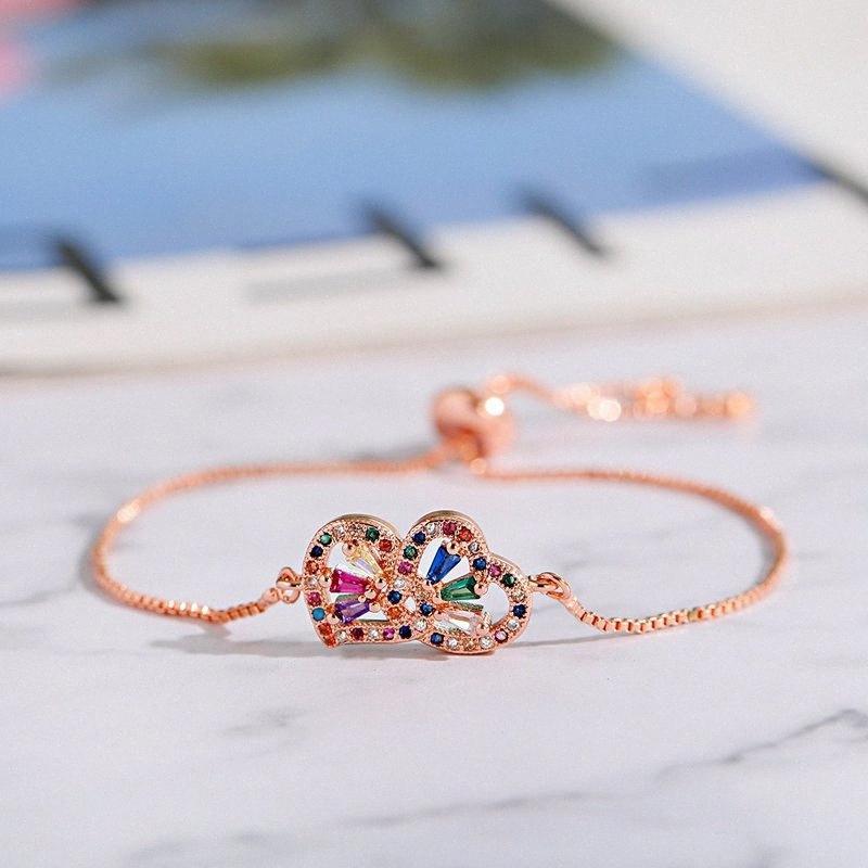 Trendy Rose Gold Kupfer Buntes Zircon doppelte Liebes-justierbares Armband für Frauen Geschenk Armband Armbänder Brautschmuck MqfA #