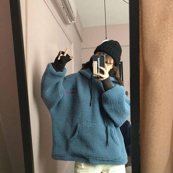 1eCbF Winter-cec Pullover mit Kapuze Strickjacke für weibliche Studenten der koreanische Art verdickte losen Lamm Mantel Wolle Wolle Stil bf Harajuku Pullover fliehen