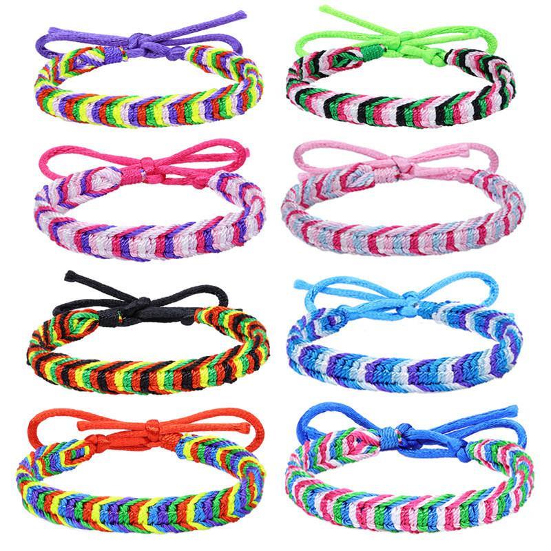 Bunter freies DHL 10 Farben gesponnene Armbänder Handgemachte Geflochtene Gewinde buntes Armband für Frauen-Mann-Weihnachtsgeschenke