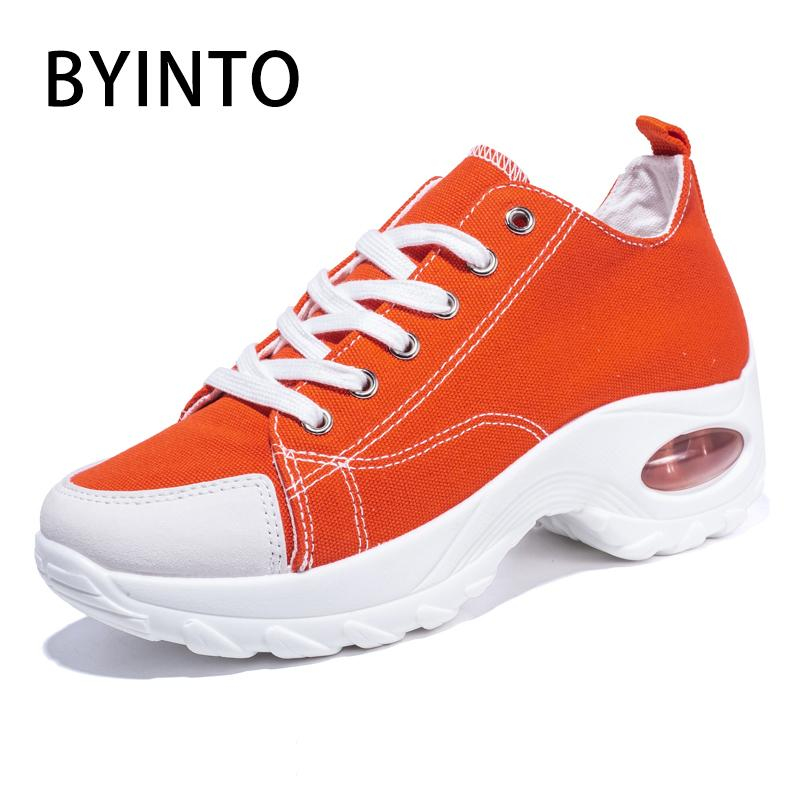 Size 35-42 Basket Femme 2020 Wedge Women Sport Tennis Shoes Air Cushion Thick Sole Sneakers Women Canvas Footwear Tenis Feminino
