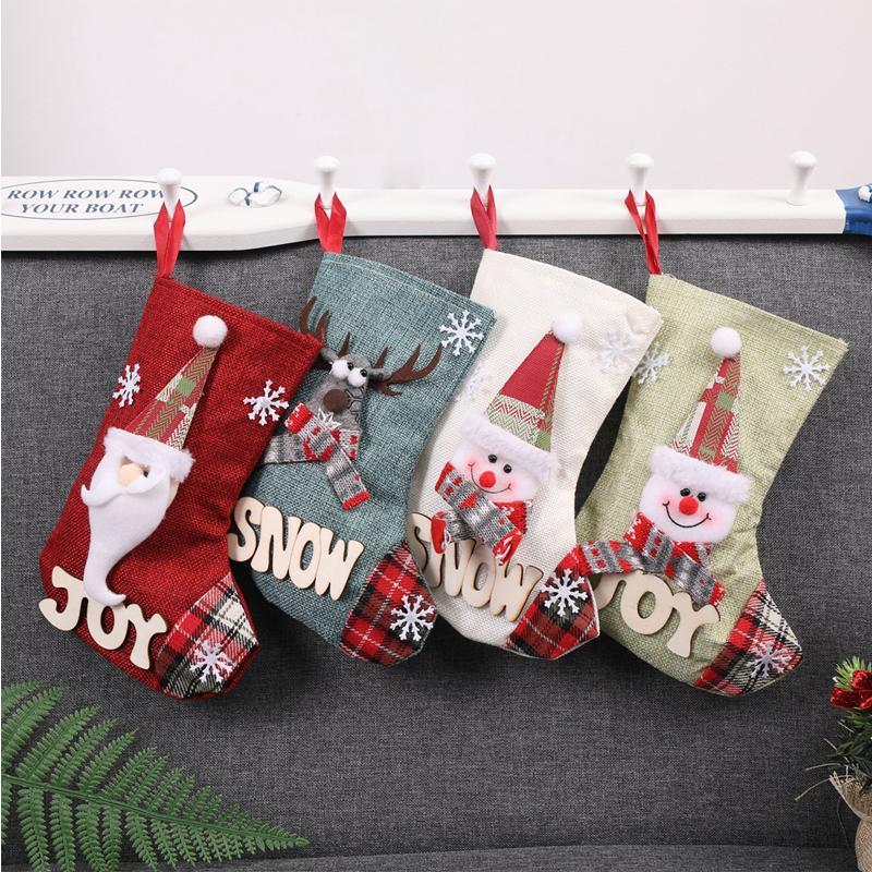 DHL Natal Meias Decoração para casa meias de Natal caçoa presentes Árvore Ano Novo Ornament Xmas de Santa Socks 4 Estilos X593FZ