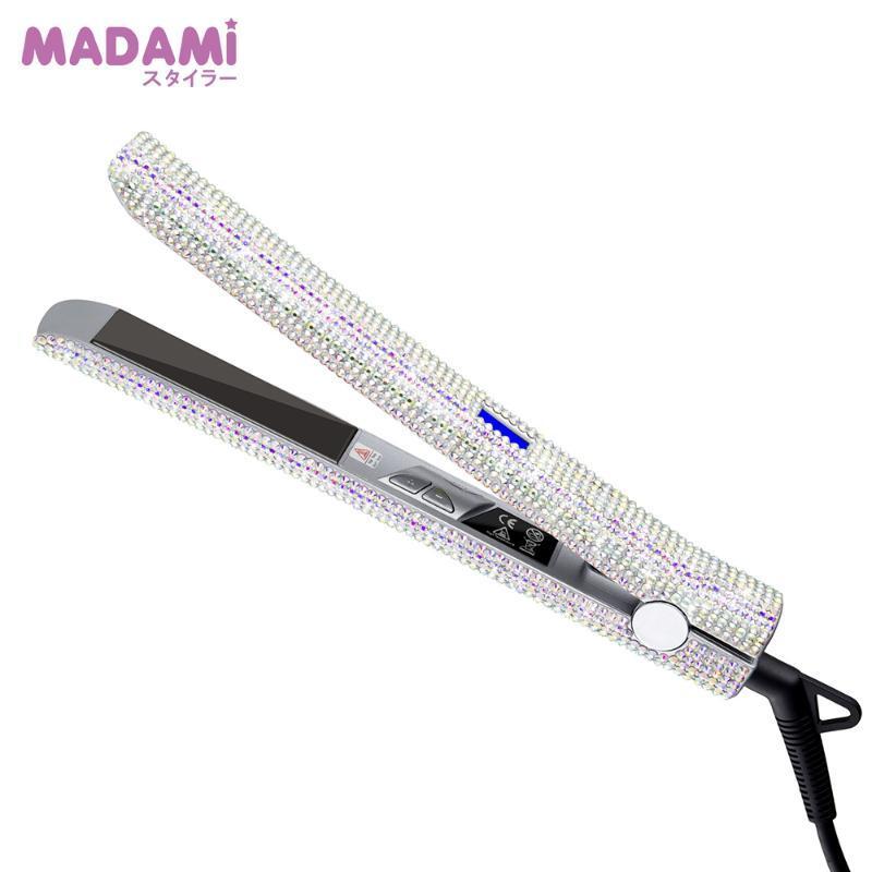 مادامي لتألق الشعر مستقيم الحديد المسطح اليد صنع الكريستال الماس مع شاشة LCD الراين الألواح الحديد التيتانيوم الحديد