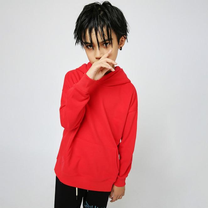 Niño de la manera camiseta de 2020 nueva de la llegada del color sólido de manga larga con capucha Sudaderas niños casual jersey suelto sudaderas