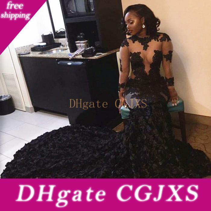 Cascading Ruffles 2020 Luxe dentelle noire Robes de bal Sheer Appliques sirène manches longues Illusion corsages robes de soirée Vintage Robes