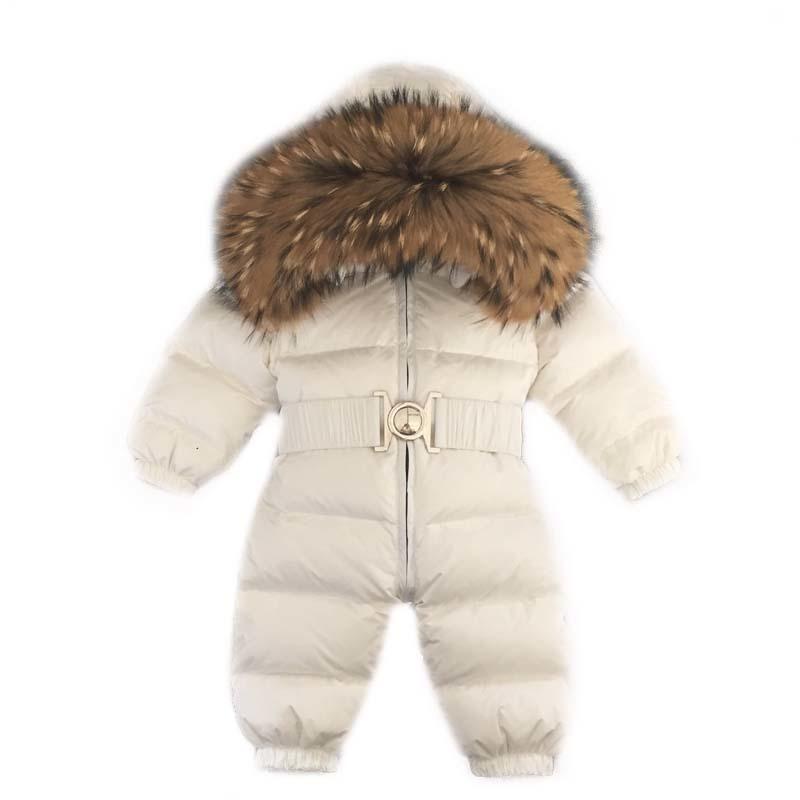 Real Ful-Mäntel für Kinder Russland Winter-Baby-Kind-Mädchen-Jungen Snowsuit Strampler realer Pelz Bebes Kind Daunenjacke mit Kapuze Overalls