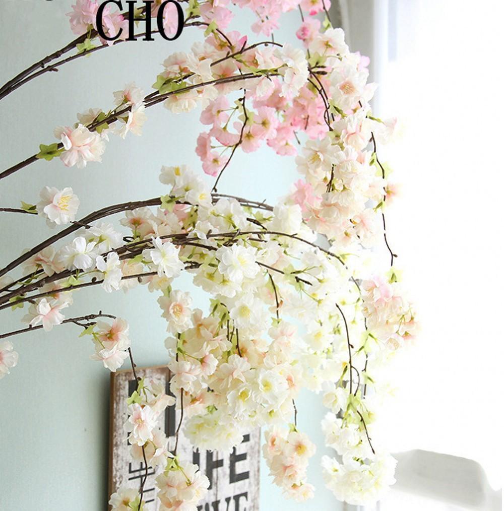 أربعة فروع كل فرع باقة محاكاة زهرة الكرز طويلة الخوخ ساكورا تنبع الزفاف القوس زهرة الديكور المنزل غرف المعيشة ديكور