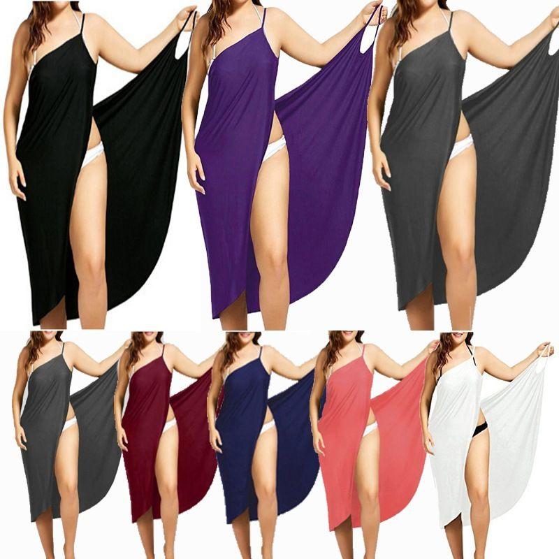 Kadınlar Plajı Örtbas Artı boyutu Wrap Elbise Kadınlar Seksi Casual Plaj Mayo 7 Renk Ölçüler S-5XL