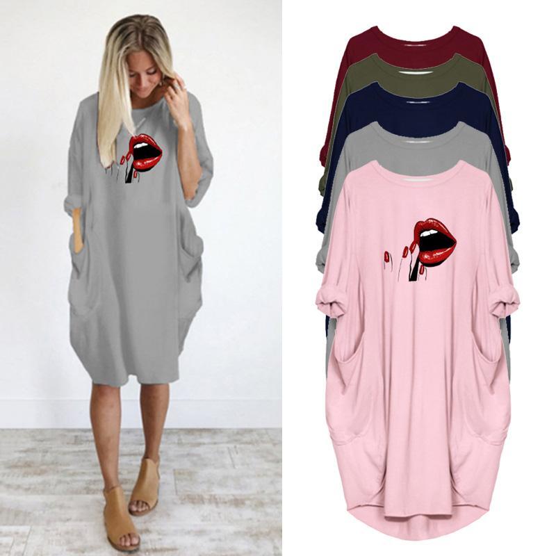 2020 vestito delle donne sexy del rossetto stampa labbra Autunno a maniche lunghe o collo Pocket Plus Size Abiti allentati casuali del partito Femme Vestidos