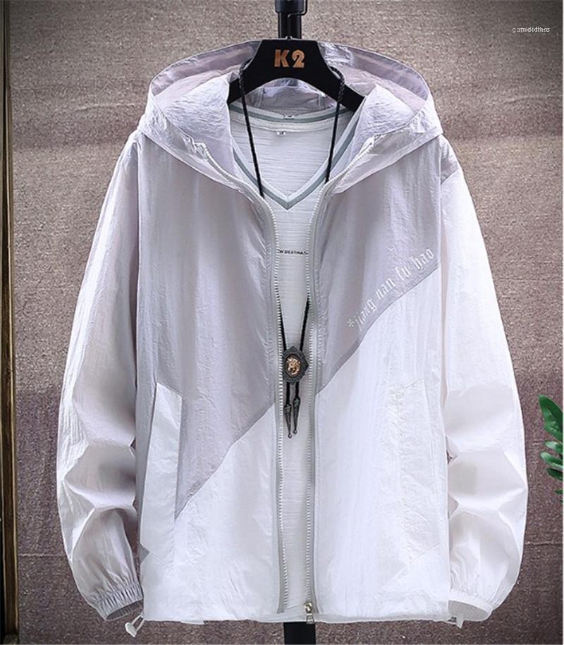 Lettera di stampa Giacca con cappuccio Pocket Zipper Mens Coats Maniche lunghe di contrasto del progettista del Mens di colore Abbigliamento Uomo