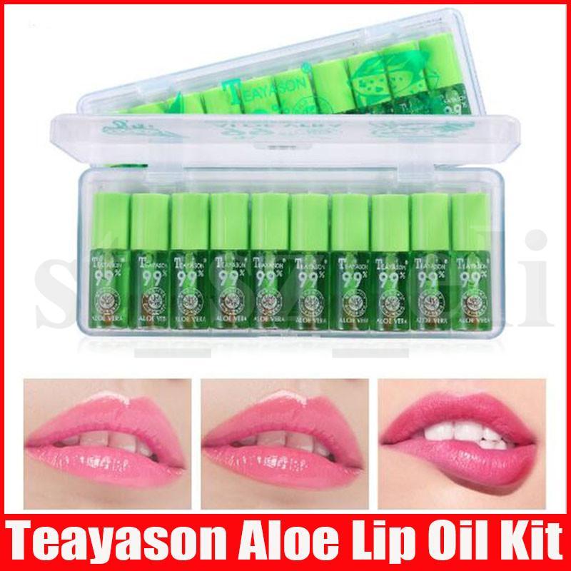 Teayason Aloe Vera Mini Lip Gloss Temperature Color Changing Long Lasting Lip Oil Lipgloss Kit Tint Primer Moisturizing Makeup Care 10pcs/se