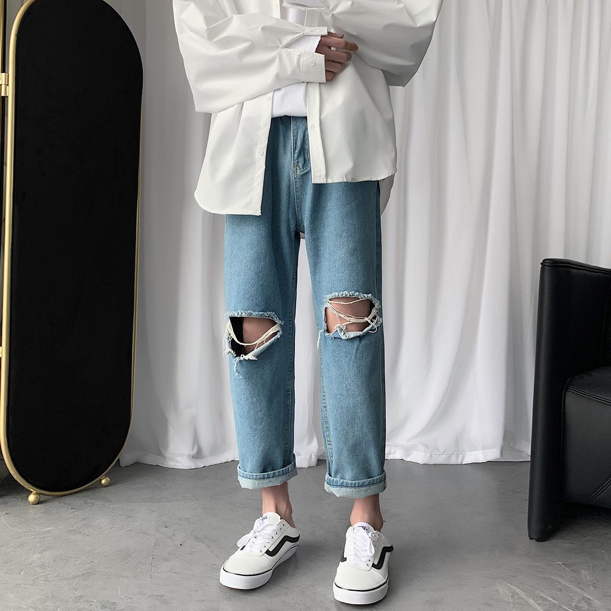TyBgv 2020 Летний новый мужской моды Корейский стиль и брюки и джинсы мужские модные джинсы молодежные случайные свободные брюки щиколоток