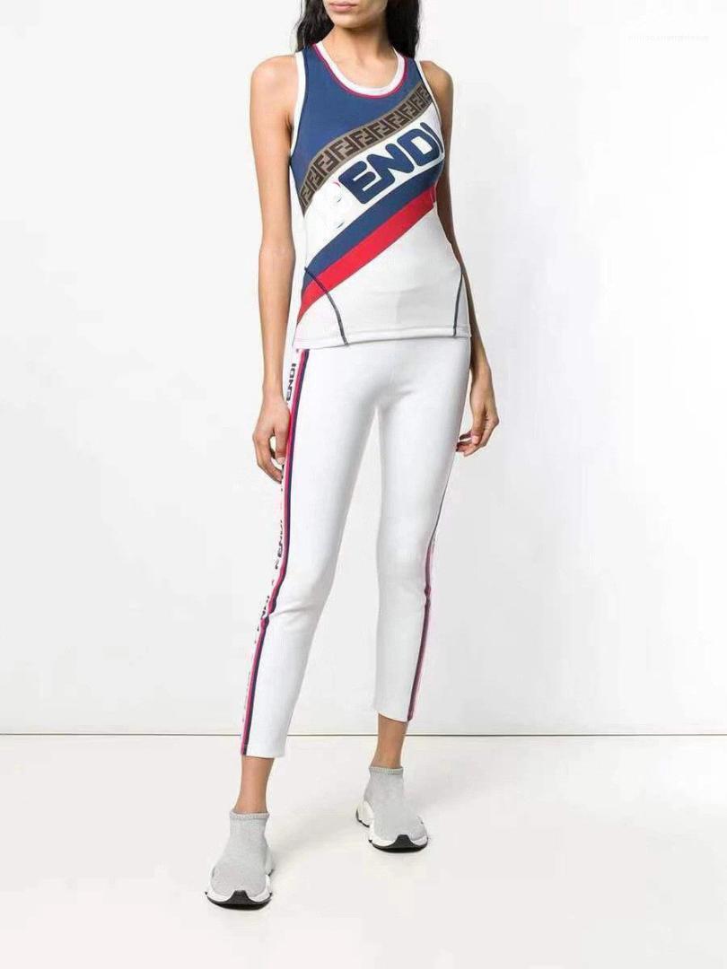 Yelek Spor Giyim Seti Bayan Yaz F Mektupları Tasarımcı konfeksiyon 2adet Setleri Suits Kalem Pantolon Tops