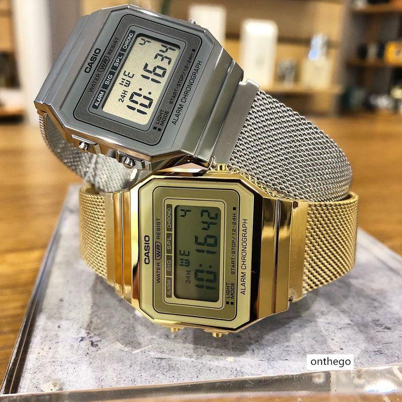 Casio elektronische Uhr kleine quadratische beiläufige Uhr für Männer und Frauen Uhr A700WM-1 / 7A