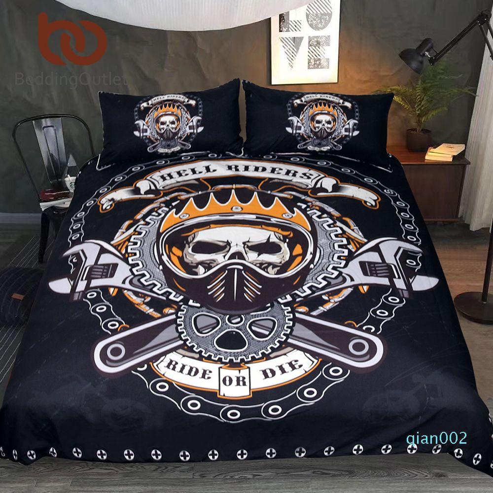 BeddingOutlet Mechanical Skull Bedding Set Gears Print Gothic Duvet Cover Set Black Bedclothes 3pcs Hell Riders Home Textiles
