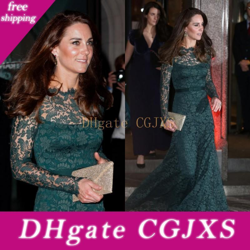 Dark Green Kate Middleton Full Lace Women Evening Dresses Fitted Long Sleeves Sheer Bateau Neck Floor Length Formal Celebrity Gowns