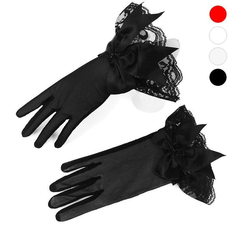 Guanti in pizzo fiocco bianco guanti breve Satin Donne Opera polso dei guanti di lunghezza vestito da cerimonia nuziale guanto corto Rosso Nero