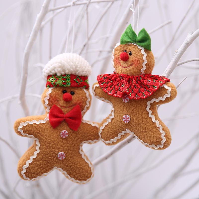 1pc árbol de Navidad del hombre de pan Decoración del ornamento pequeña muñeca de la felpa del regalo del cabrito colgando colgante Año Nuevo de Navidad Decoración