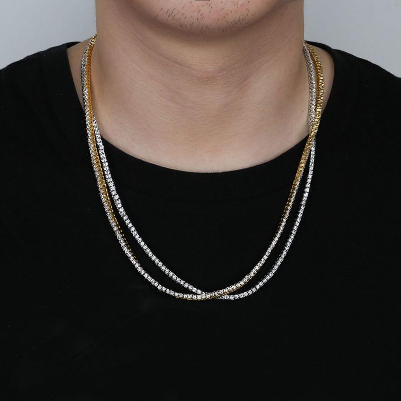Whosale 4mm 18-24 pollici ghiacciato Bling Bling Zircone 1 riga Tennis Catena collana Uomini Hip Hop Jewelry Gold Silver Charms