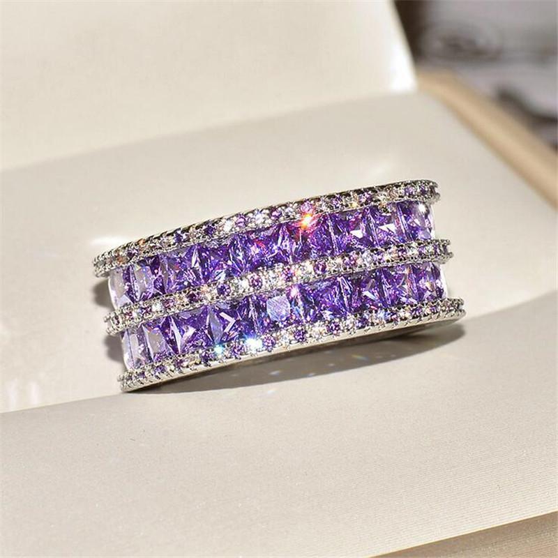 Regalo hecho a mano joyería fina 925 de corte princesa Party piedras preciosas amatista plata esterlina doble compromiso de la boda de las mujeres anillo de la venda para los amantes