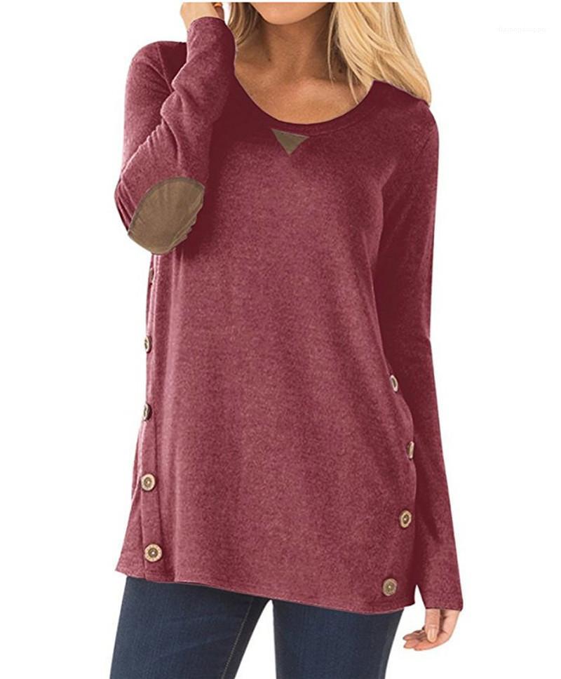 Ras du cou pour les femmes hauts 2020 ressort solide femmes T-shirts Styliste lambrissé en vrac Femme T-shirts occasionnels