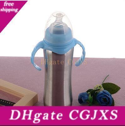 Botella 8 oz de leche del bebé taza de Sippy de acero inoxidable vaso de recién nacidos sanos botellas de 240ml recién nacido grande Volum Rosa Blue Water Standard Calibre