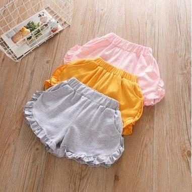 2020 neue Sommer-Shorts Baby-Rüsche Strand Shorts Kid Cotton Elastic Short Kleinkind-Mädchen-Süßigkeit-Farben-heiße Kurzschlüsse Kind-beiläufige Hosen udhE #