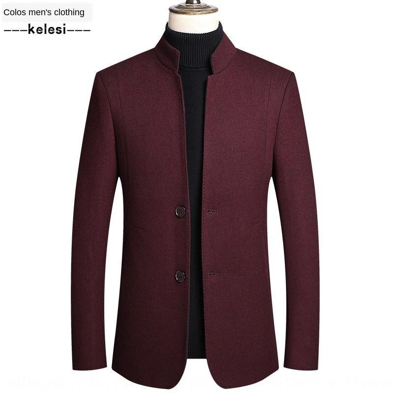 Automne et hiver Nouveau en stand affaires d'âge moyen vêtements pour hommes occasionnels col en laine manteau manteau hommes en laine de KJML8802