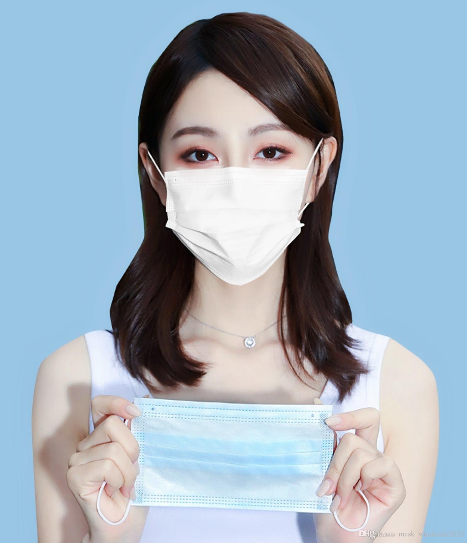 masques adultes jetables stériles gros léger et respirant avec un chiffon meltblown protection à trois couches de poussière, le brouillard et la protection UV dispos