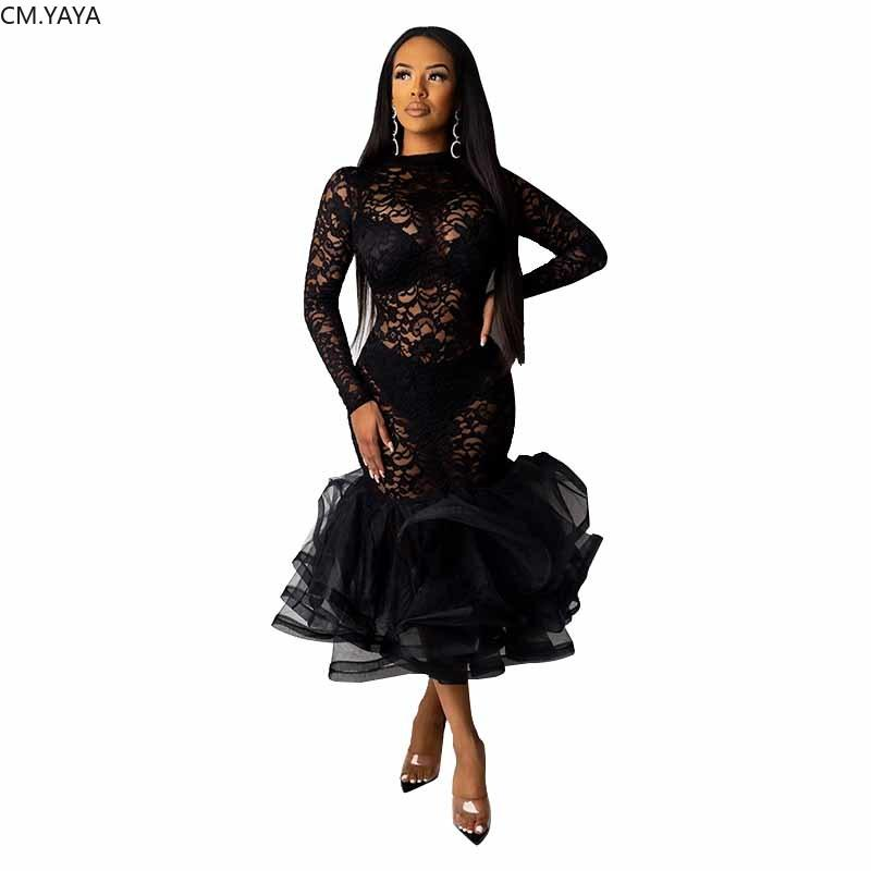 2020 Mulheres Primavera Vestido de Inverno Lace oco Out Ruffles Partido cintura alta vestido sexy noite Bandage Bodycon Midi Vestidos GL9575