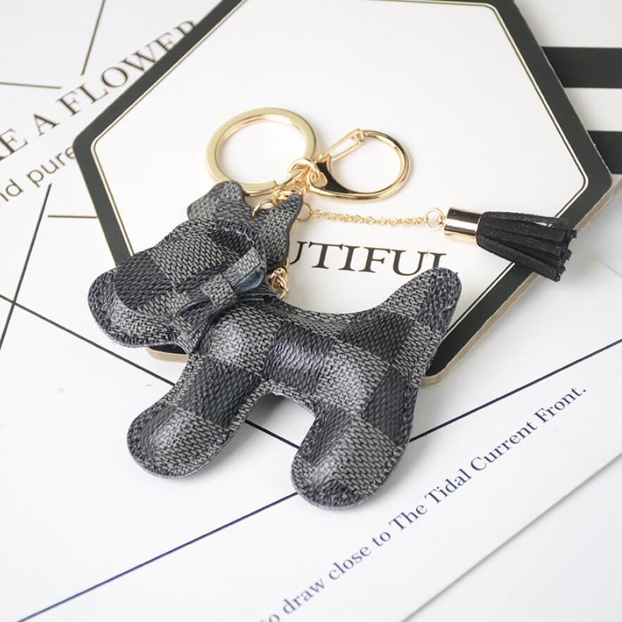 2021 تصميم الكلب سيارة المفاتيح حقيبة قلادة سحر مجوهرات زهرة حلقة رئيسية حامل للنساء الرجال الأزياء بو الجلود الحيوان مفتاح سلسلة الملحقات