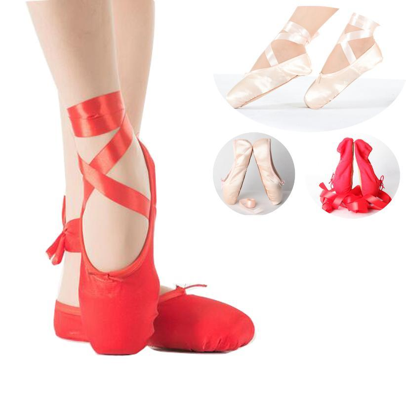 Child Adult Ballet Pointe Dance Shoes Ladies Professional Ballet Dance Shoes With Ribbons