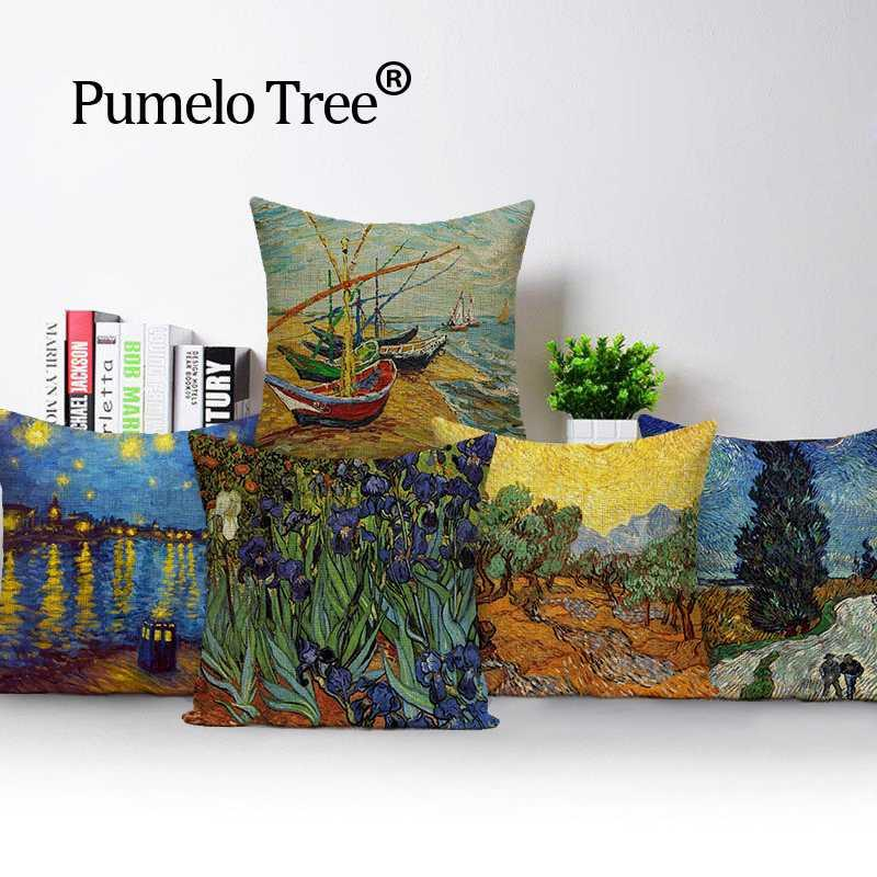 Cushion/Decorative Pillow Square Colorful Abstract Oil Painting Cover Cushion 45*45 Car Beds Design Print Outdoor Custom