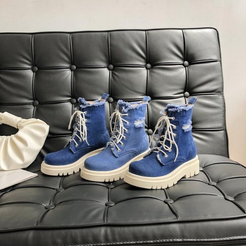 Mujer Denim Jeans atan para arriba botas del tobillo de la motocicleta punk punta redonda de tacón Chunky calientes zapatos gruesos de invierno ata para arriba más el tamaño rasgada