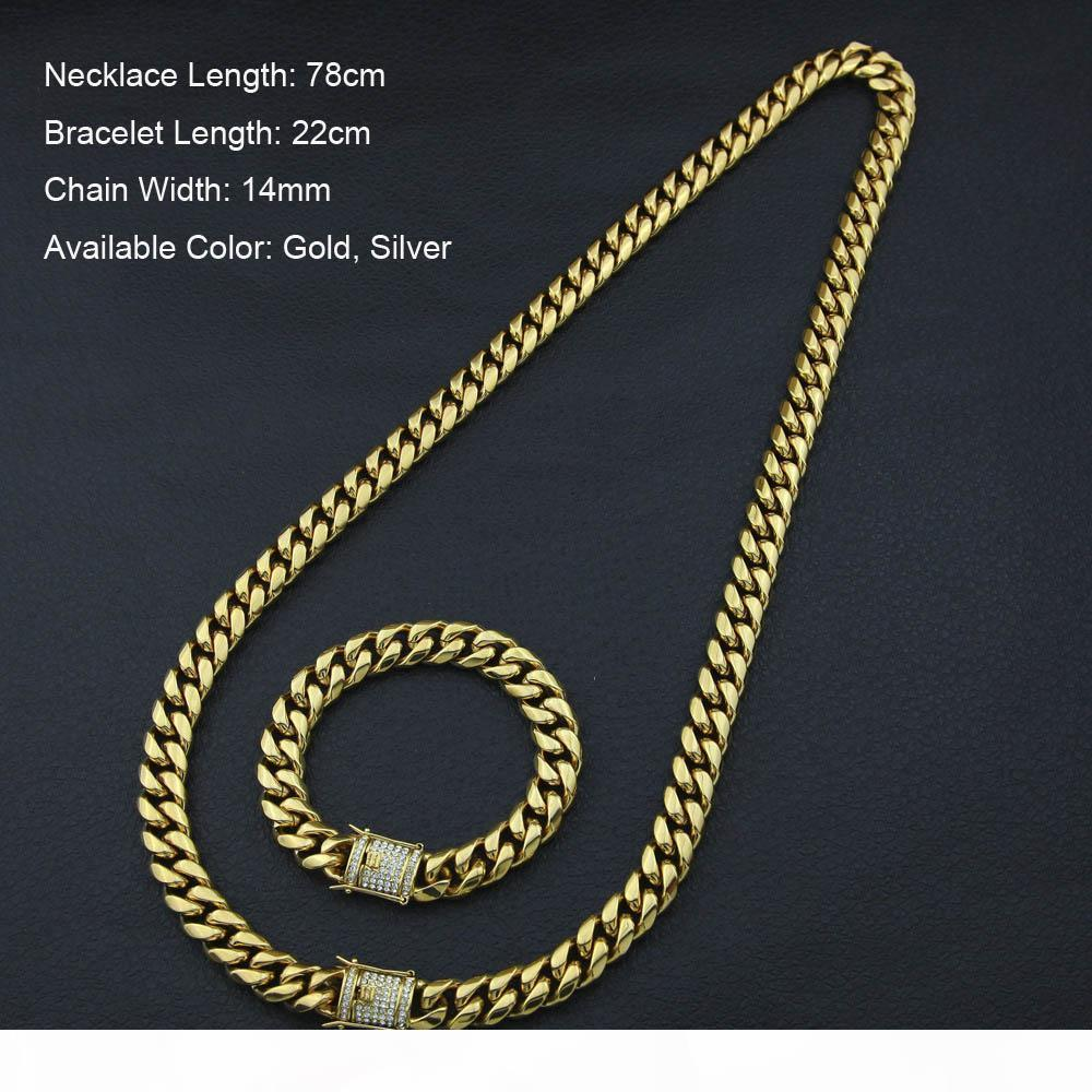 Нержавеющая сталь 24K Solid Gold гальванических Кастинг Застежка W Алмазный кубинский Link ожерелье браслет для мужчин Снаряженная Цепи Jewelry Set 10мм 14мм