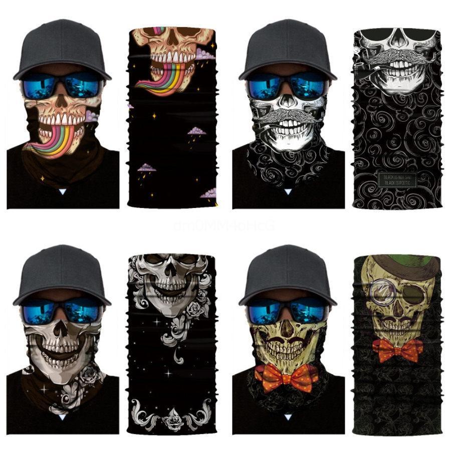 Crâne Masque magique crâne crâne écharpe d'équitation demi-visage 10 Styles 3D sans couture Sport Cyclisme Pêche Bandana Bandeau hommes Party femmes Masque # 74 # 143