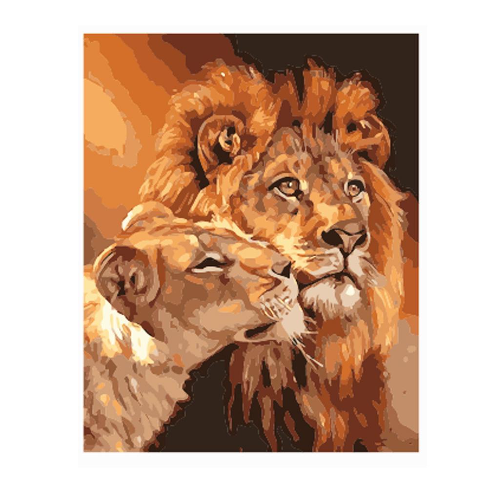 Qluo Animal Immagine senza telaio pittura dai numeri olio digitale di DIY su tela pittura Due leoni modello Home Decor Diy lavoro manuale regalo