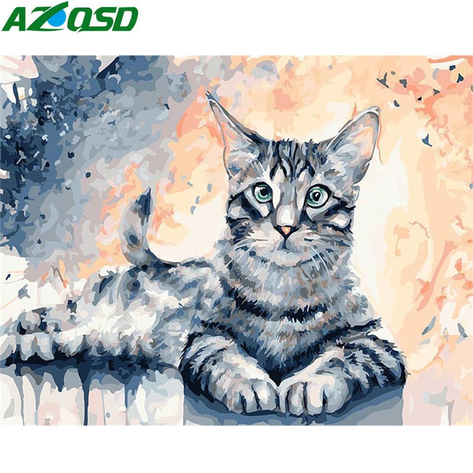 AZQSD coloriage par numéros sur le bricolage Unframe acrylique Toile Peinture à l'huile animale Peinture par numéros Cat Décoration