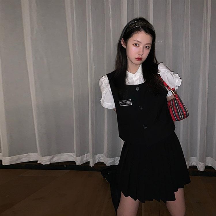 Sınıf Yelek karikatür üç parçalı gömlek / yelek takım elbise 2020 Yaz Kore yeni kadın Sınıf clothingVest giyim giyim karikatür üç parçalı gömlek /