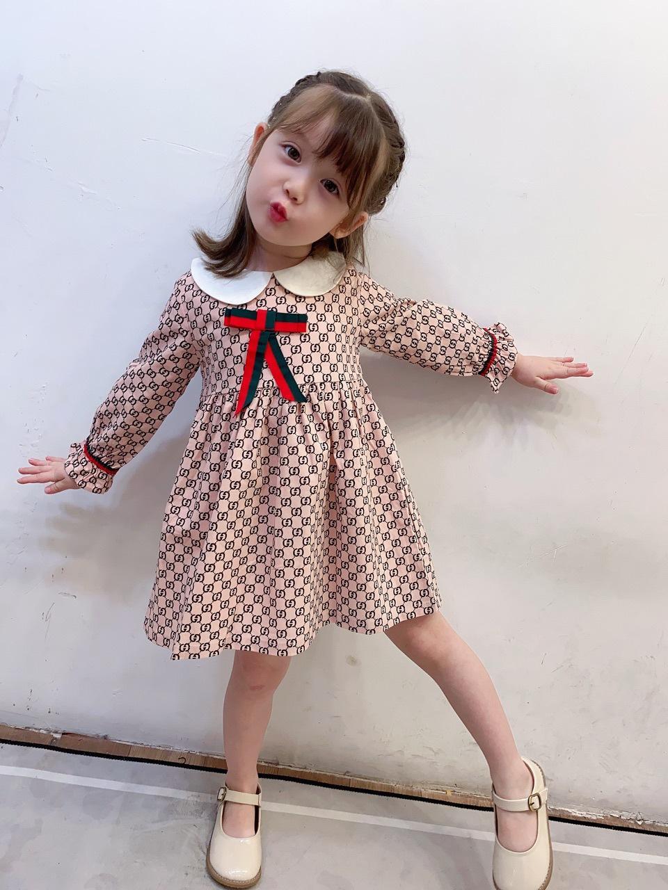Mädchen Designer Kleid Kinder Brief Gedruckt Prinzessin Kleid Neue Herbst 2020 Kinder Kragen Baumwolle Baumwolle Langarm Plissee Kleid S546