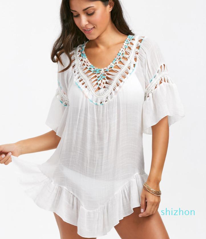 Горячие продажи Sexy Crochet Бич Cover Up Open Назад Summer Beach Dress Cotton Сборки Болл Купальники Cover Up Solid Robe De Plage