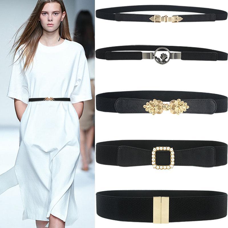 Brasão Moda Elastic Cummerbunds Sólido Preto estiramento Cintura Para Mulheres Vestido Acessórios Adorno cinto cintos largos Cinto
