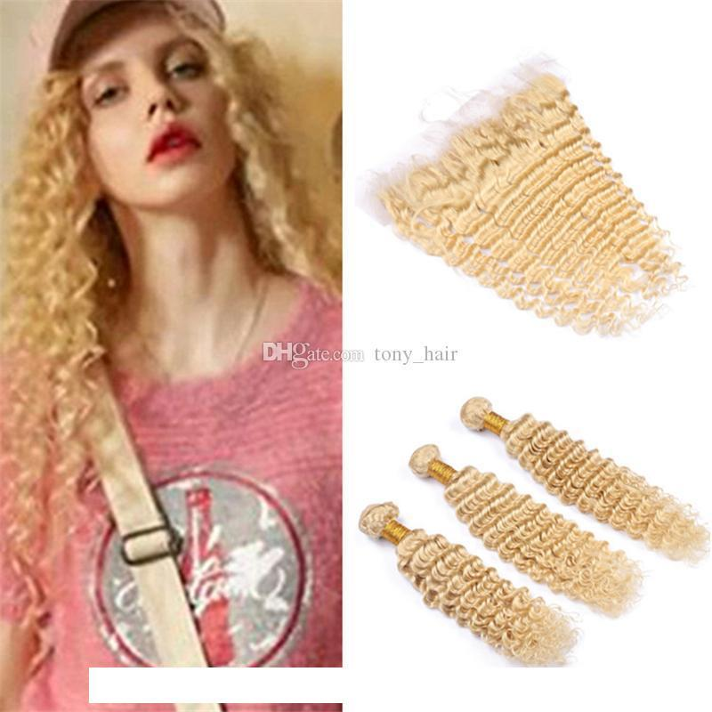H Virgin Brazilian Deep Wave Blonde Hair Bundles With Lace Frontal Closure #613 Blonde Deep Curly Human Hair Wefts With Full Frontals