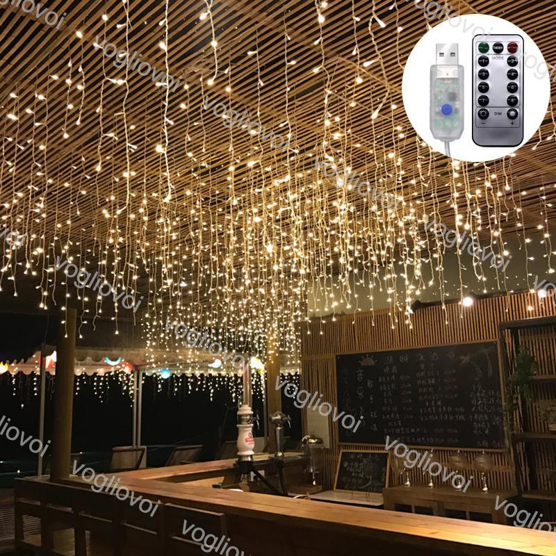 3x0.5 / 3x2 / 3x3m janela cortina de corda de natal de natal iluminação de iluminação de fadas Garland casa decorativa para casamento / festa / decoração de jardim DHL