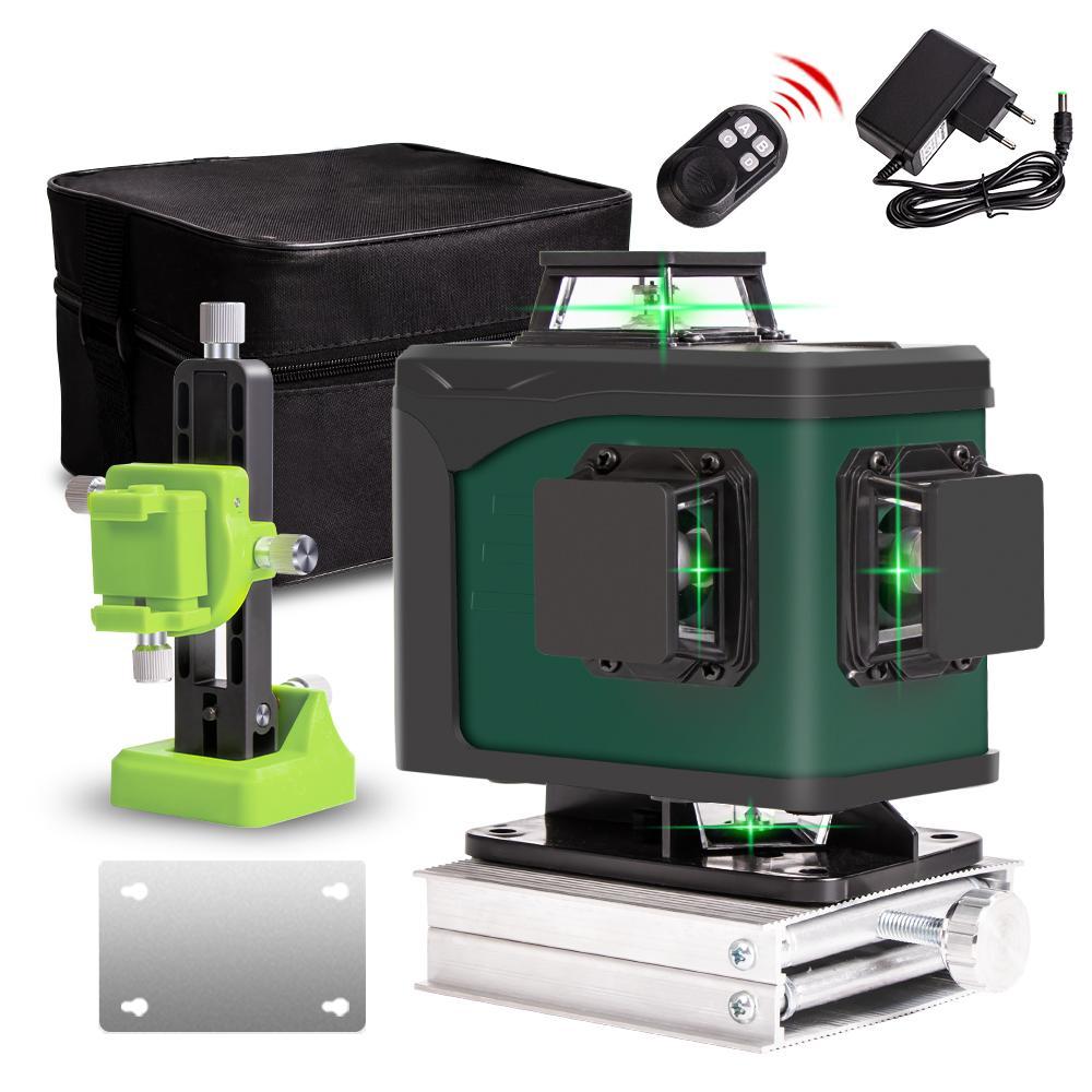 Laser Nível 16 / 12lines linha verde 4D Autonivelante verde nível laser de feixe 360 horizontal e nível Laser Poderosa Vertical Super