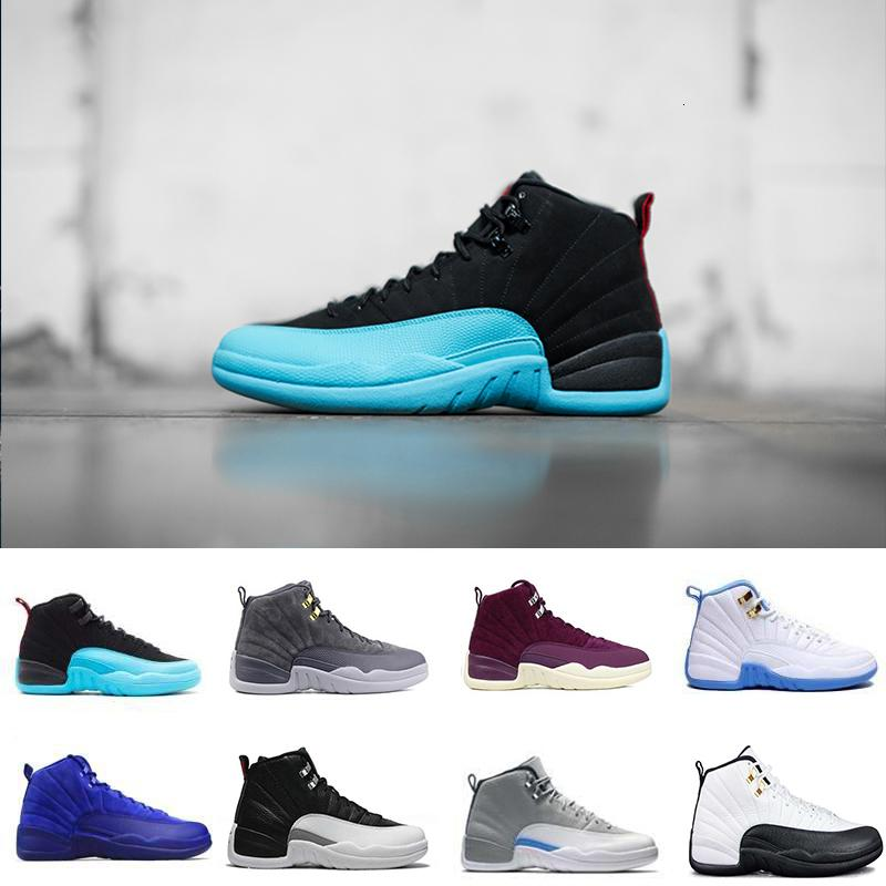 12 12s homens novos de basquete sapatos brancos do jogo gripe mestre Barons Red Suede playoff Universidade azul m NakeskinJordâniaRetros sneaker