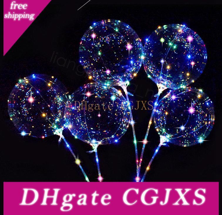 Led-Leuchten Balloons Nachtbeleuchtung Bobo-Kugel-Dekoration Ballon Hochzeitsdeko Props Helle Lighter Ballone mit Stock 18cm Ffa3193