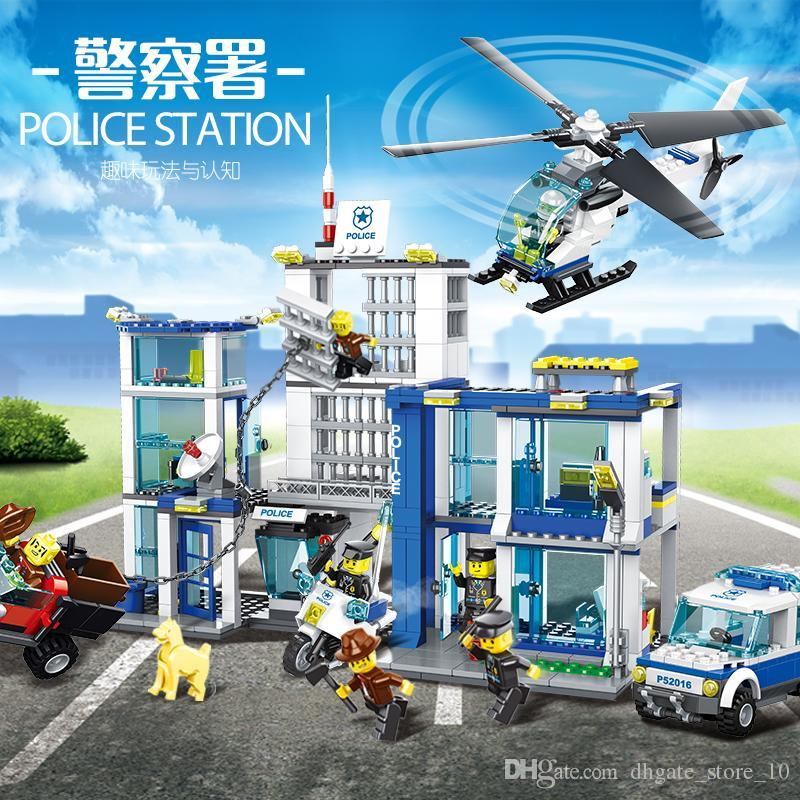 882pcs city security building blocks, police stations, prisons, helicopters, cars, motorcycles building blocks, fun educational toys,